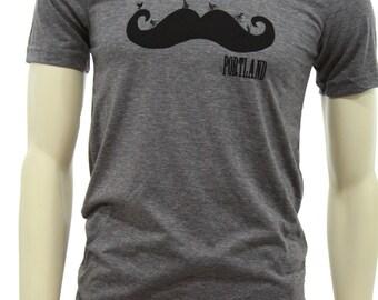 Mustache  Soft Lightweight T Shirt  Unisex  Portland Mustache ride  Art by MATLEY  Hometown tees  Travel T Shirt  Bicycle  Funny.