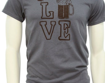 Tall Sizes - Beer T Shirt - Men's classic T Shirt - up to 3XL - I love beer.