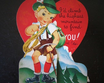 Vintage Valentine Mountain Climber Used Tri-Fold Card From Aunt Flo