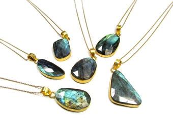 Large Bezel Labradorite Gemstone Pendant Necklace