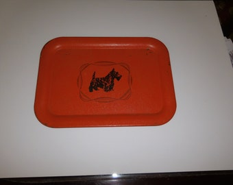 Scottie Dog Metal Vintage Serving Tray