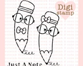 Nerdy Pencils Digital Stamp - School digi - Pencil digital art for - Card Making - Paper Crafts - Scrapbooking - Stickers - Coloring Pages