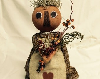 Fall Decor | Pumpkin Head | Primitive Pumpkin Head Doll | handmade doll