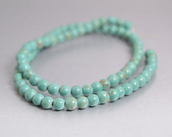 Turquoise Beads, 5mm to 6mm Round Aqua Green Beads, Full Strand for Leather Wrap Bracelets