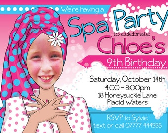 Girls' Spa Birthday Party Invitation DIGITAL FILE Personalized with photo