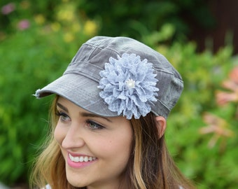 Denim floral hat * grey Womens Hat Shabby Chic Flower Hat distressed hat Bling Hat Cadet Charcoal grey baseball cap military hat