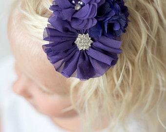 Purple flower clip, purple bow, purple hair clip, purple hair bow, girl birthday gift, flower girl hair accessories, purple wedding, baby