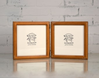 """Two Handmade Hinged 8x8"""" Square Picture Frames in Double Cove Style and in Color OF YOUR CHOICE - Double Photo Frame 8x8 - Table Top Frames"""