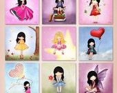 Set of 9 Kids greeting cards, holiday card set , children notecards , digital illustrations ,mini prints, kids art