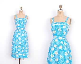 Vintage 1960s Dress / 60s Lilly Pulitzer Cotton Floral Print Sundress / Blue (small S)