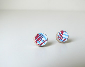 Red, White and Blue Striped wooden stud earrings made from skateboard with surgical steel posts.