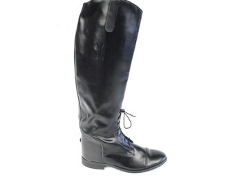 Vintage Equestrian Boots 80s Black Leather Riding Boots Tall Knee High Boots Pull On Boots Lace Up Boots Combat Grunge Boots Size 5.5 E628