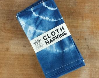 Organic Hand Dyed Shibori Cloth Napkins