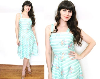 70s Dress / 1970s Dress / 70s Seafoam Floral Print Sundress
