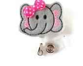 Elephant Pink with Bow - Badge Reels - Name Badge Holder - Medical Badge Reel - Nurse Badge Holder - Nursing Badge Clip - Felt Badge