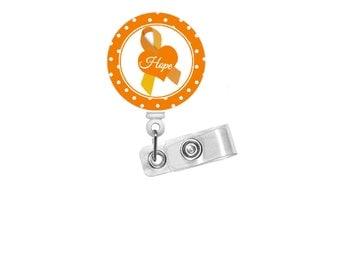 Leukemia Awareness Badge - Retractable ID Badge Holder - Cute ID Badge Reel - Name Tag Holder - Nursing Badge Clip - Hematology Specialist