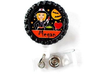 Witch Nurse - RN Badge Holder - Nurse Practitioner Badge Holder - Nursing Badge Holder - Halloween Badge - Holiday Badge Reel - Name ID