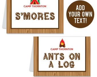 INSTANT DOWNLOAD Camping Party Buffet Cards - EDITABLE Printable File