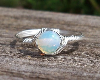 Faceted SM Opaline Argentium Sterling Silver Wire Wrapped Ring
