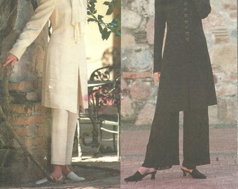 Vogue 1405 / Vintage Designer Sewing Pattern By Donna Karan / Trousers Pants Jacket Coat Suit / Sizes 12 14 16