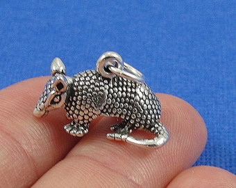 Armadillo Charm - Sterling Silver Texas Armadillo Charm for Necklace or Bracelet