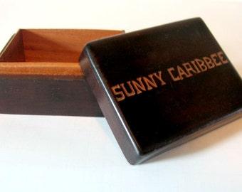 Wooden Spice Box, Sunny Caribbee Wooden Box, Caribbean Trinket Box, Caribbean Souvenir Box, Carved Wooden Souvenir Box, Sunny Caribbean Box