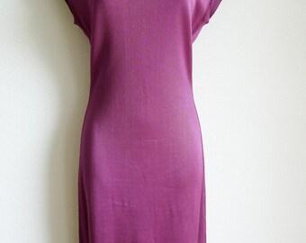 SALE Vintage ALAIA dress and cardigan set in purple acetate knit
