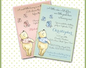 Winnie the Pooh Invitations / Baby Shower, Sip & See, Boy or Girl Birthday / Pooh Bear Pink or Blue / DIY / Thank You Cards and Favor Tags