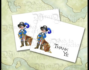 Pirate Thank You Note Cards / DIY Printable / Buccaneer Birthday / Folded Stationery / Boys / Invitation, Favor, Banner Available