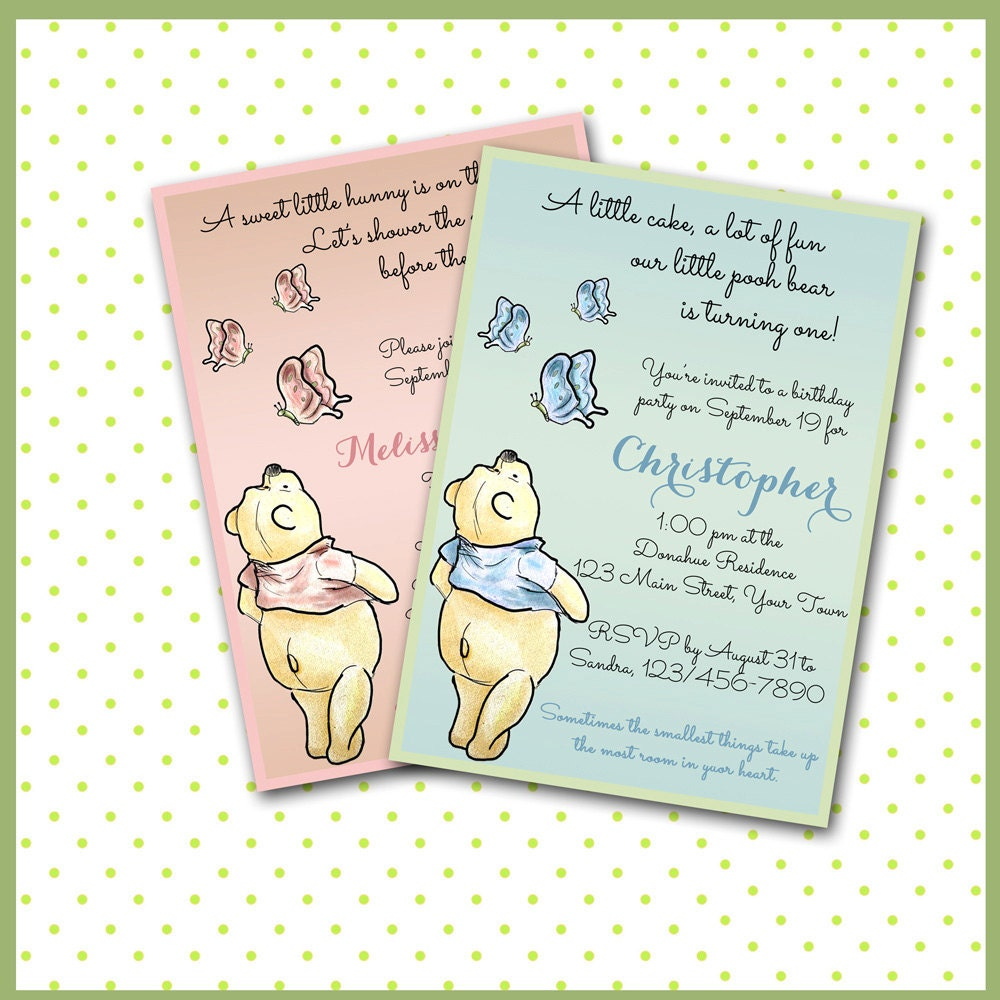 winnie the pooh invitations baby shower sip see boy or