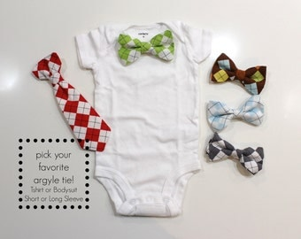 ARGYLE Baby Boy Necktie or Bow Tie Outfit. Toddler Tshirt. Arygle Tie. Preppy baby tie. Red, Green, Brown, Blue, Gray