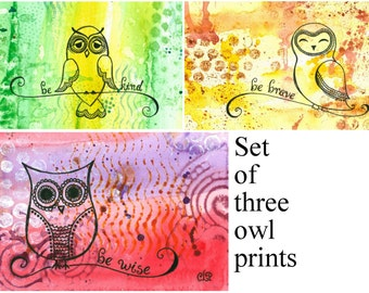 Set of Three 4x6 Owl Prints