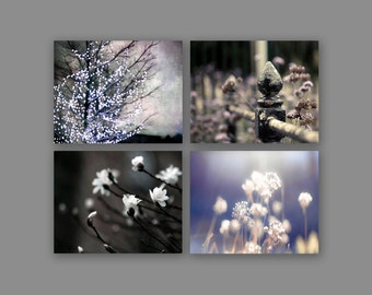 SALE, Bedroom Wall Art - Gray Purple Neutral Nature Photography Set of 4 Prints