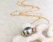 Tahitian Pearl and Pave CZ Rhinestone Necklace