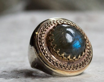 Labradorite ring, silver  gold ring, two tone ring, gold filigree ring, Boho ring, gypsy ring, ethnic Gemstone ring - The King ring R1110EA