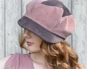 Corduroy Patchwork Newsboy Hat in Dusty Pink and Purple