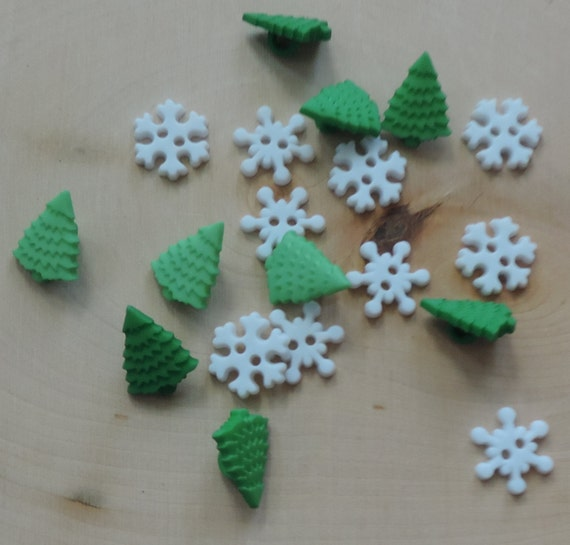 "Snowflake and Tree Buttons, Novelty Button Assortment Pack,  ""Tiny Blizzard"" by Buttons Galore and More, Sewing, Crafting Buttons"