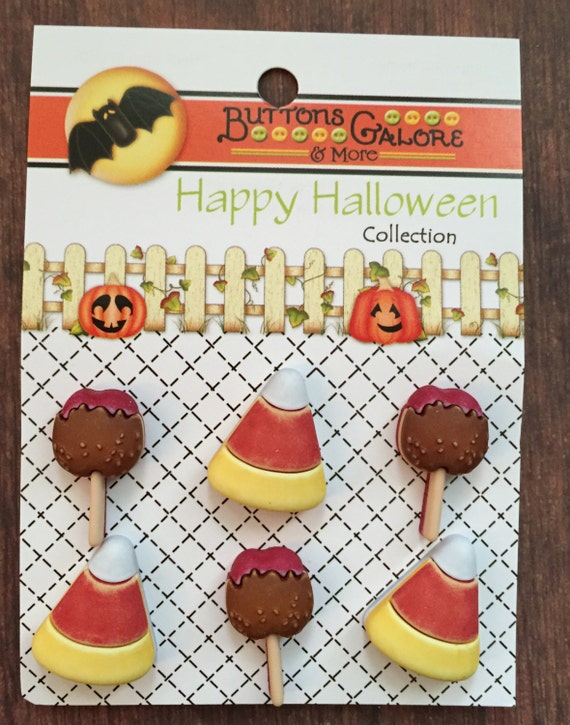 Candy Corn and Taffy Apple Buttons Carded Shank Back Buttons Halloween Button Collection
