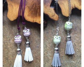Owl necklace, Wise Owl, Tassel Necklace, woodland inspired, porcelain owl, tassel pendant necklaces, cute kawaii, teen girl gift, sweet