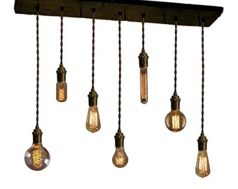7 BRASS Pendants Reclaimed Wood Edison Industrial Pendant light Urban Chandelier Rustic lighting Modern Dining chandelier wedding