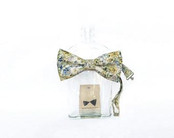 Ella - Yellow/Blue Floral Men's Pre-Tied Bow Tie or Self-Tied Bow Tie