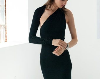 Black Dress / Asymmetric Dress / Party Dress / One Shoulder Dress / LBD / Midi Dress / Unique Dress / Marcellamoda - MD0008