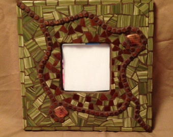 "10"" Mosaic Art Mirror Green and Brown"