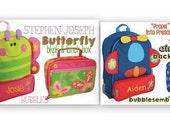 Stephen Joseph Monogrammed Preschool Backpack and Lunch Box Girls and Boys Airplane or Butterfly Sidekicks