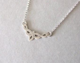 Delicate Celtic Necklace - celtic necklace , silver necklace , delicate necklace , celtic jewelry , elvish necklace , book of kells