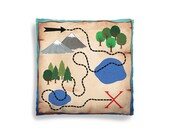 Pillow Cover - Decorative Children's Throw Pillow from Hand Painted Images - Pirate Theme Treasure Map 16x16 18x18 20x20 or 24x24