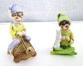 Josef Originals Bisque Elf Pixie With Rabbit & An Elf Pixie Riding A Turtle
