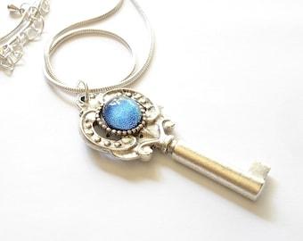 Skeleton Key Pendant, Blue and Silver Key Necklace