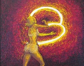 Poi Girl Fire Dancer painting 20x16 original - spinning fire - swinging poi bals - bohemian decor