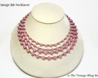 50s 4 Strand Pink Glass Bead Bib Necklace in Chain Link Design with J-hook Closure and Extender - Vintage 50's Beaded Costume Jewelry